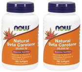 2-Pack Of Natural Beta Carotene 250 IU 180 sGels, Now Foods