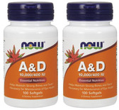 2-Pack Of Vitamin A & D 10000/400 100 Sgels, Now Foods, Bone Teeth Eyes Health