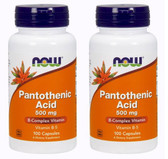 2-Pack Of Pantothenic Acid 500 mg 100 Caps, Now Foods, Cholesterol Balance