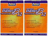 2-Pack Of Instant Energy B12 2000 mcg 75 Packets (1 g) Each, Now Foods