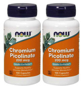 2-Pack Of Chromium Picolinate 200 mcg 100 Caps, Now Foods, Diet