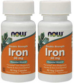 2-Pack Of Iron 36 mg Ferrochel 90 Vcaps, Now Foods