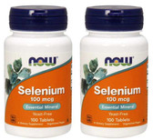 2-Pack Of Selenium 100 mcg 100 Tabs, Now Foods, Immune Metabolism Support