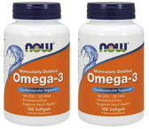 2-Pack Of Omega-3 1000 mg 100 Sgels, Now Foods