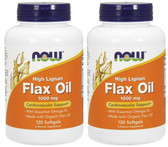 2-Pack Of High Lignan Flax Oil Certified Organic 1000 mg 120 sGels, Now Foods