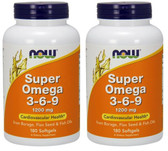 2-Pack Of Super Omega 3 - 6 - 9 1200 mg 180 SG, Now Foods, Flax Seed & Fish Oil