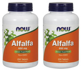 2-Pack Of Alfalfa 650 mg 250 Tabs, Now Foods, Green Superfood