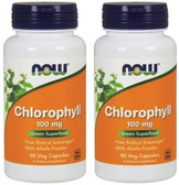 2-Pack Of Chlorophyll 100 mg 90 Caps, Now Foods, Super Green Food with Alfalfa