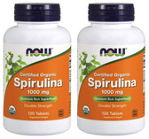2-Pack Of Certified Organic Spirulina 1000 mg 120 Tabs, Now Foods