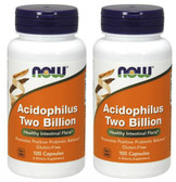 2-Pack Of Acidophilus Two Billion 100Caps, Now Foods, Healthy Intestinal Flora