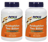 2-Pack Of Acidophilus Two Billion 250 Caps, Now Foods, Healthy Intestinal Flora