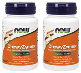 2-Pack Of ChewyZymes Natural Berry Flavor 90 Chewables, Now Foods