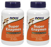 2-Pack Of Super Enzymes 90 Tabs, Now Foods, Digestive Health