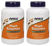 2-Pack Of Plant Enzymes 240 Caps Now Foods, with Protease Papain Bromelain