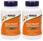 2-Pack Of Acid Relief with Enzymes 60Chewables, Now Foods