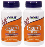 2-Pack Of 7-KETO 25 mg 90 Vcaps, Now Foods, Supplements