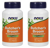 2-Pack Of Butcher's Broom 100 Caps, Now Foods