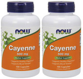 2-Pack Of Cayenne 500 mg 100 Caps, Now Foods, Vascular Health & Digestion