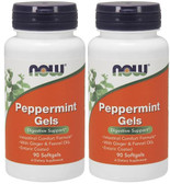 2-Pack Of Peppermint Gels 90 sGels, Now Foods, Digestion Nausea Respiratory