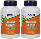 2-Pack Of Senna Leaves 470 mg 100 Caps, Now Foods, Laxative