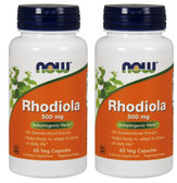 2-Pack Of Rhodiola 500 mg 60 Veggie Caps, Now Foods, Energy