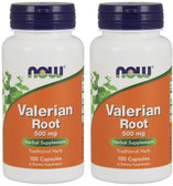 2-Pack Of Valerian Root 500 mg 100 Caps, Now Foods, Sleep & Relaxation