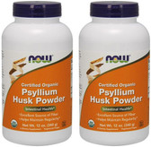 2-Pack Of Organic Psyllium Powder 12 oz, Now Foods