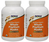 2-Pack Of Organic Whole Psyllium Husks 12 oz (340 g), Now Foods