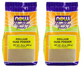 2-Pack Of Healthy Foods Psyllium Husk Powder 24 oz, Now Foods, Intestinal Health
