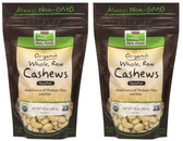 2-Pack Of Certified Organic Whole Raw Cashews Unsalted 10 oz, Now Foods