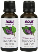 2-Pack Of Essential Oils Lavender & Tea Tree 1 oz (30 ml), Now Foods