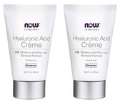 2-Pack Of Hyaluronic Acid Creme PM Moisture Renew Formula 2 oz,Now Foods, Mature
