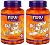 2-Pack Of Sports Branched Chain Amino Acids 120 Caps, Now Foods, Muscles