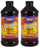 2-Pack Of L-Carnitine Liquid Tropical Punch Flavor 1000 mg 16 oz, Now Foods