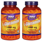 2-Pack Of L-Glutamine 1000 mg 240 Caps, Now Foods, Muscle Mass