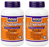 2-Pack Of L-Tryptophan Powder 2 oz (57 g), Now Foods, Stress Relaxation