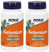 2-Pack Of Selenium 200 mcg 90 Vcaps, Now Foods