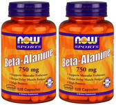 2-Pack Of Sports Beta-Alanine 750 mg 120 Caps, Now Foods, Muscular Endurance