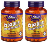 2-Pack Of Sports Creatine Monohydrate 750 mg 120 Caps, Now Foods, ATP Energizer