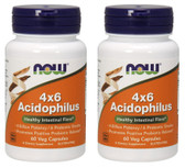 2-Pack Of 4x6 Acidophilus 60 Caps, Now Foods, Healthy Intestinal Flora