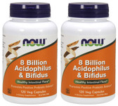 2-Pack Of 8 Billion Acidophilus & Bifidus 120 Veggie Caps, Now Foods