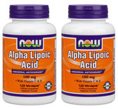 2-Pack Of Alpha Lipoic Acid 100 mg 120 Vcaps, Now Foods, Antioxidant