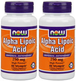 2-Pack Of Alpha Lipoic Acid 250 mg 60 Vcaps, Now Foods