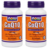 2-Pack Of CoQ10 60 mg With Omega-3 60 Sgels, Now Foods