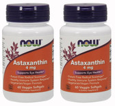 2-Pack Of Astaxanthin 4 mg 60 Veggie sGels, Now Foods Antioxidant Cardiovascular