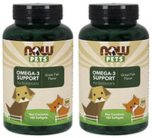 2-Pack Of Now Pets Omega 3 (Cats & Dogs) 180 Softgels, Now Foods