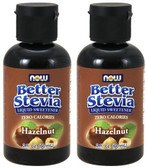2-Pack Stevia Liquid Sweetener Hazelnut 2 oz Now Foods