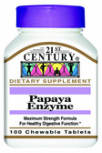 Papaya Enzyme 100 Chewable Tabs, 21st Century Health Care