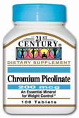 Chromium Picolinate 200 mcg 100 Tabs, 21st Century Health Care