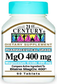 MgO Magnesium Oxide 400 mg 90 Tabs, 21st Century Health Care